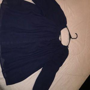 Dark blue button up blouse